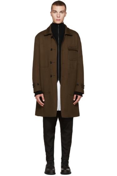 Ann Demeulemeester - Green Reversible Long Coat