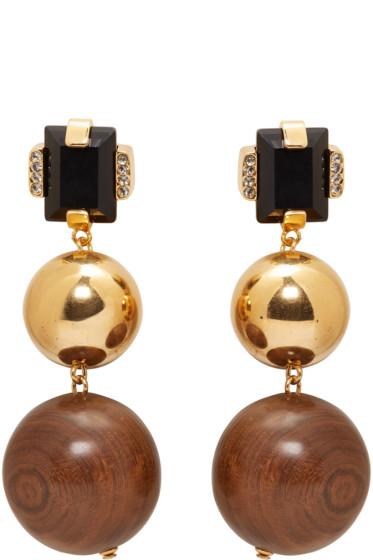Marni - Gold Stone & Wood Clip-On Earrings