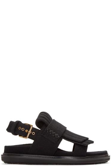Marni - Black Fringe Fussbett Sandals