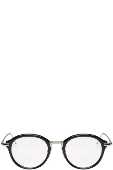 Thom Browne - Navy Round Glasses