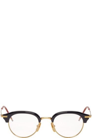 Thom Browne - Navy & Gold TB-706 Glasses