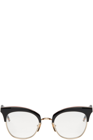 Thom Browne - Black & Gold Cat Eye Glasses