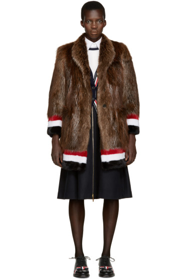 Thom Browne - Brown & Tricolor Fur Coat
