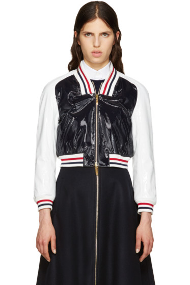 Thom Browne - Tricolor Patent Varsity Bomber Jacket