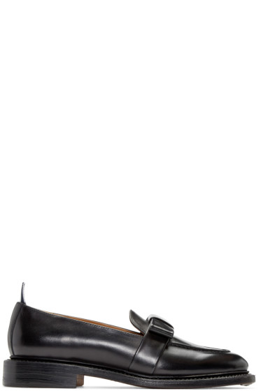 Thom Browne - Black Leather Bow Loafers