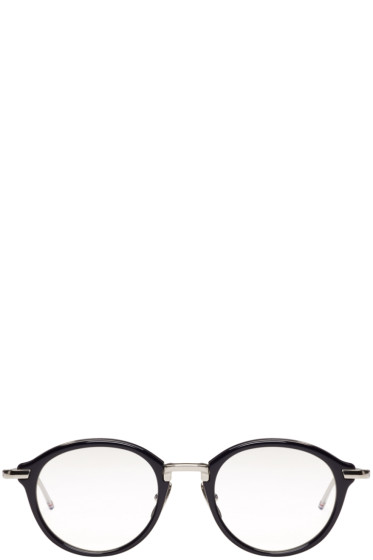 Thom Browne - Navy & Silver Acetate Glasses