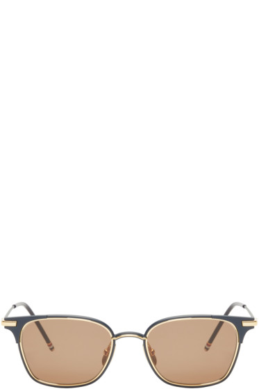 Thom Browne - Navy & 18K Gold Square Sunglasses