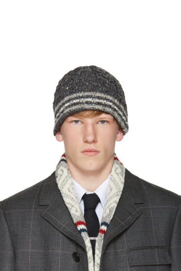 Thom Browne - Grey Cable Funmix Beanie