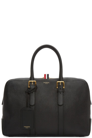 Thom Browne - Black Leather Duffle Bag