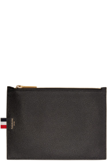 Thom Browne - Black Leather Large Pouch
