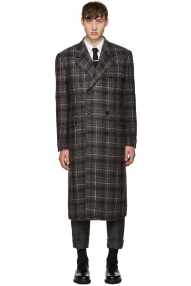 Thom Browne - Grey Tartan Wide Shoulder Coat