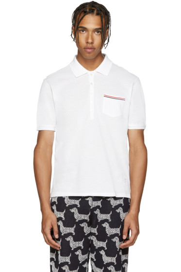 Thom Browne - White Cotton Piqué Polo