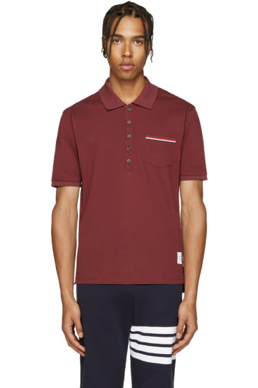 Thom Browne - Burgundy Cotton Piqué Polo