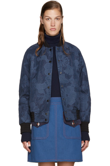 Kenzo - Blue Embroidered Tanamy Bomber Jacket