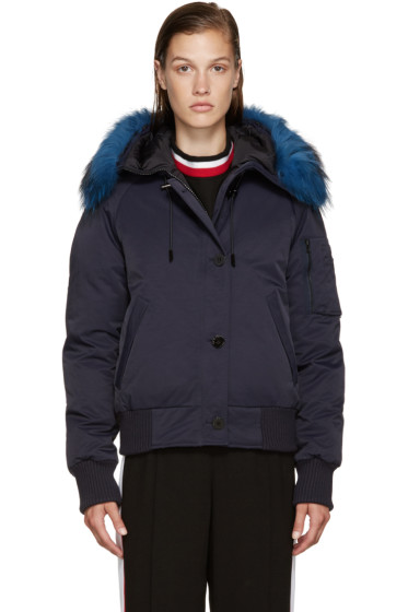 Kenzo - Blue Fur-Trimmed Down Jacket