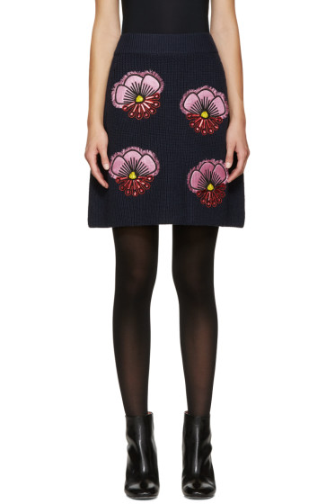 Kenzo - Blue Embroidered Tanami Knit Skirt