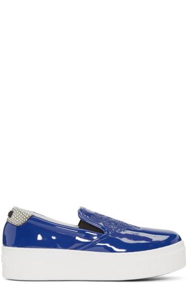 Kenzo - Blue Patent Platform Sneakers