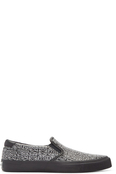Kenzo - Black Leather Flying Tiger Slip-On Sneakers
