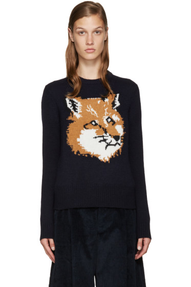 Maison Kitsuné - Navy Wool Fox Sweater