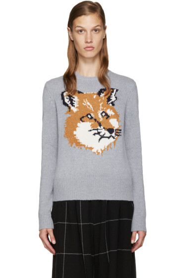 Maison Kitsuné - Grey Wool Fox Sweater