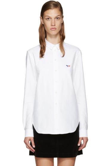 Maison Kitsuné - White Tricolor Logo Shirt