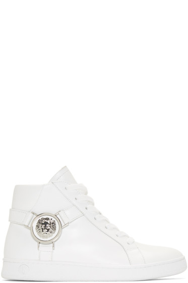 Versus - White Leather High-Top Sneakers