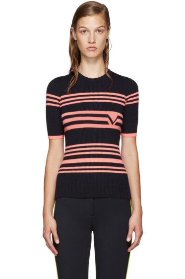 Versace - Navy & Pink Ribbed Sweater