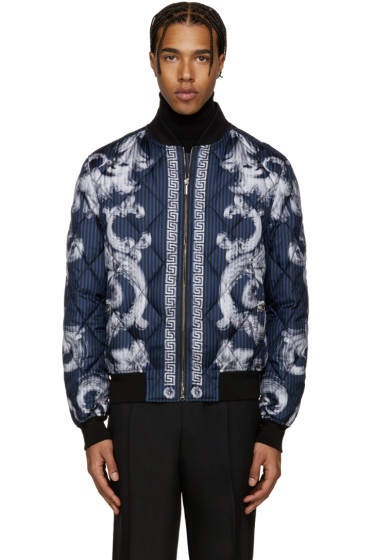 Versace - Blue Quilted Medusa Bomber Jacket