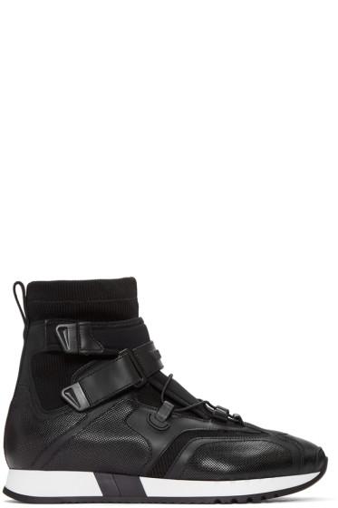 Versace - Black Leather & Neoprene High-Top Sneakers