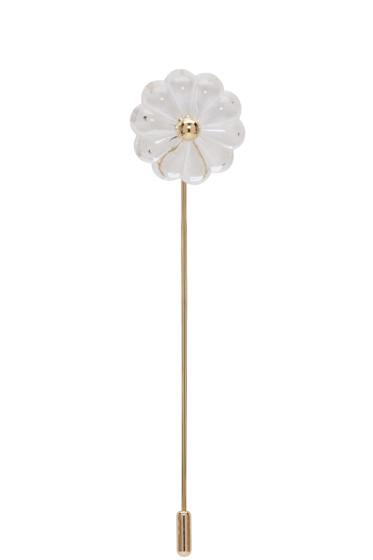 Simone Rocha - Transparent & Gold Flower Brooch