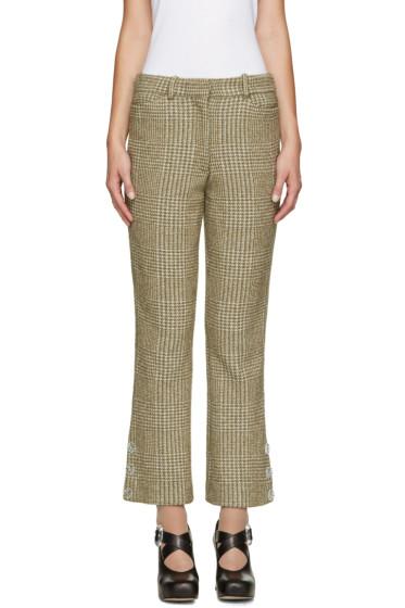 Simone Rocha - Khaki Sparkle Houndstooth Trousers