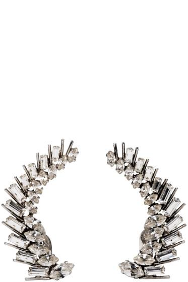Saint Laurent - Clear Crystal Cocktail Laurel Earrings