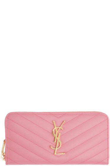 Saint Laurent - Pink Quilted Monogram Wallet
