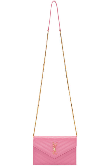 Saint Laurent - Pink Monogram Envelope Chain Wallet