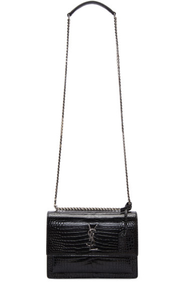 Saint Laurent - Black Croc-Embossed Medium Monogram Sunset Satchel