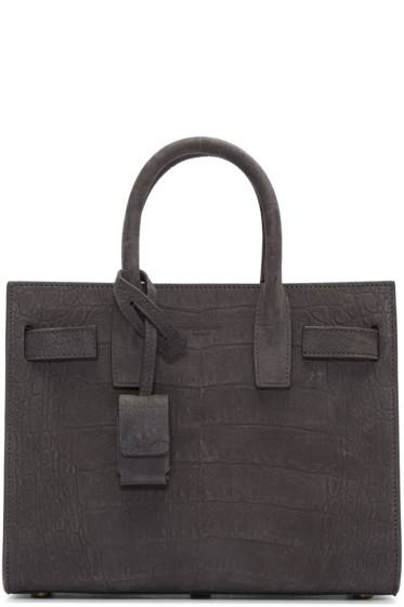 Saint Laurent - Grey Croc-Embossed Nano Sac de Jour Tote