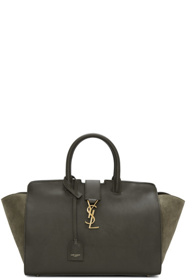Saint Laurent - Brown & Green Small Cabas Monogram Bag