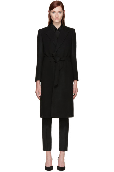 Saint Laurent - Black Wool Belted Coat