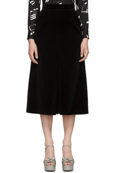 Saint Laurent - Black Velvet Wide-Leg Culottes
