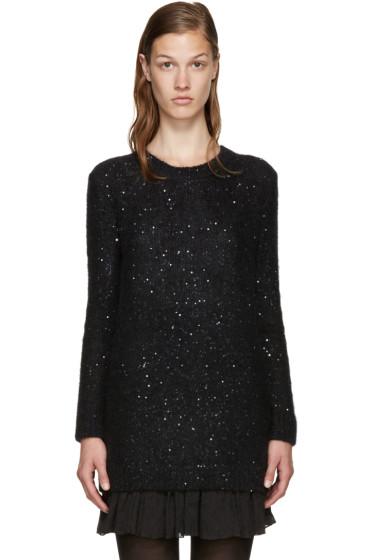 Saint Laurent - Black Calf-Hair Sequin Sweater