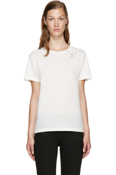 Saint Laurent - Ivory Music Note Stamp T-Shirt