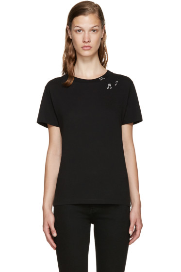 Saint Laurent - Black Music Note Stamp T-Shirt