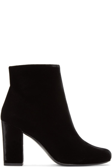 Saint Laurent - Black Velvet Babies Ankle Boots