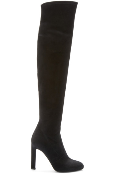 Saint Laurent - Black Suede Grace Over-the-Knee Boots