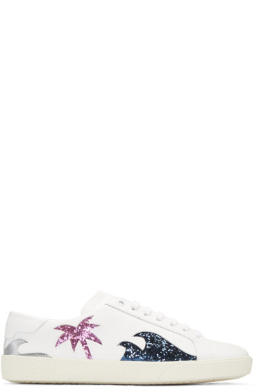 Saint Laurent - White Cut-Out Court Classic Sneakers