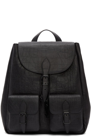 Saint Laurent - Black Croc-Embossed Medium Festival Backpack