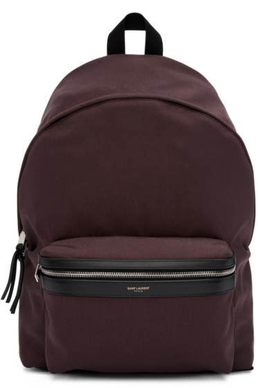 Saint Laurent - Burgundy Canvas Backpack