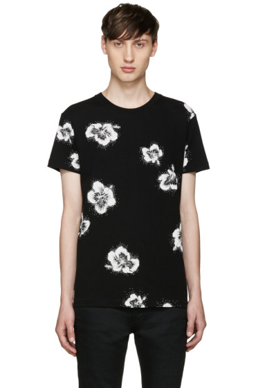 Saint Laurent - Black Floral T-Shirt