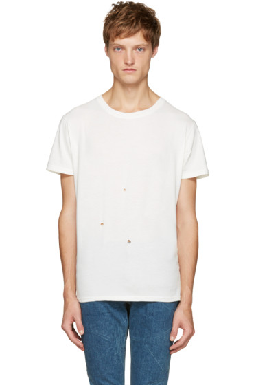 Saint Laurent - Off-White Grunge Destroyed T-Shirt