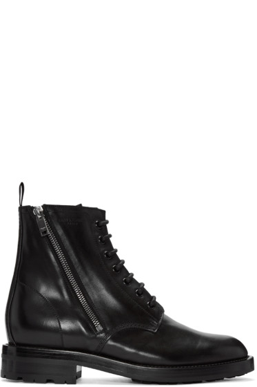 Saint Laurent - Black Short Zip Army Boots